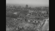 Aerial View of rubbled city after war Stock Footage