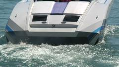 Fast sport boat navigating slowly in Miami  - stock footage