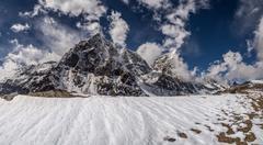 Himalayas landscape with cholatse and taboche summits Stock Photos