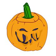 Malicious halloween pumpkin with smile Stock Illustration