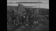 Military soldiers preparing anti-aircraft gun for war Stock Footage