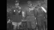 General Douglas MacArthur watching the parade with military officers Stock Footage
