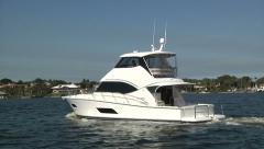 Luxury fishing boat navigating  - stock footage