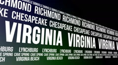 Virginia State and Major Cities Scrolling Banner Stock Footage
