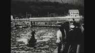 Captain saluting soldiers on harbour Stock Footage