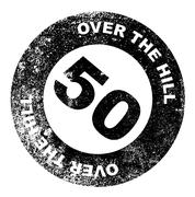 over the hill 50 stamp - stock illustration