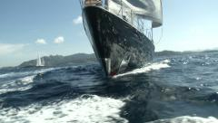 Bow of a luxury sailing yacht  - stock footage