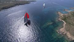 Aerial view of sailing yachts navigating during a regatta  Stock Footage