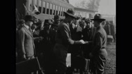 Draftees being received at station Stock Footage