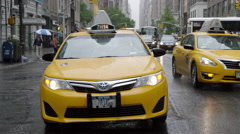 Taxi Cab Manhattan New York City Driving Windshield Wipers Raining 4K NYC Stock Footage