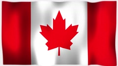 4K 3D Animation of Canadian Canada Whole Flag Canvas Texture Arkistovideo