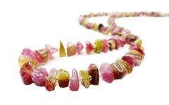 tourmaline gemstone beads necklace jewelery - stock photo