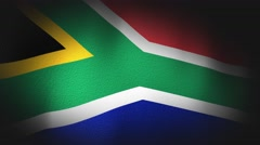 4K 3D Animation of American South Africa African Flag Closeup Canvas Texture Stock Footage