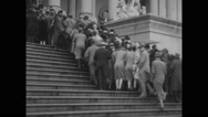 People climbing upstairs to attend President William Howard Taft's funeral Stock Footage