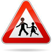 beware pedestrians sign - stock illustration