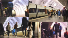 Metro train station Malmo in Sweden,underground station people traveling Arkistovideo