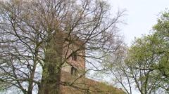Anloo medieval church, tower + tilt down rural village Arkistovideo