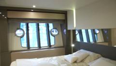 Master cabin on luxury yacht  Stock Footage