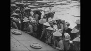 Troops of soldiers standing in ship Stock Footage
