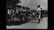 Military soldiers at bayonet drill Stock Footage