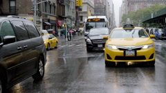 Taxi Traffic Manhattan New York City Driving Windshield Wipers Raining 4K NYC Stock Footage