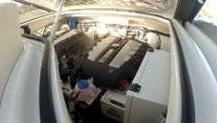 Engine room of a maxi rib  - stock footage