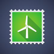 Stock Illustration of mail stamp with a wind generator