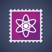 Mail stamp with an atom Stock Illustration