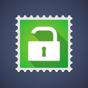 Mail stamp with an open lock pad Stock Illustration