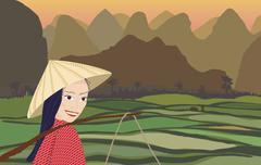Asian Woman Sunset - stock illustration