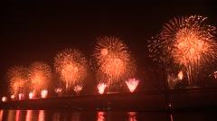 Fireworks Forth Bridge 50th anniversary (audio) Stock Footage