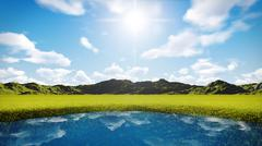 Blue sky over grassland Stock Illustration