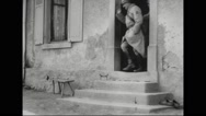 French soldiers departing from homes of French villagers Stock Footage