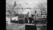 Boys saluting French soldiers while passing beside them Stock Footage