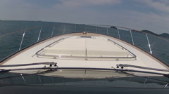 On board view of luxury yacht navigating fast  - stock footage