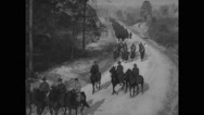 Military riding horses and marching at Camp Wheeler Stock Footage