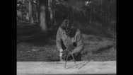 Military soldier preparing to practice firing at Camp Wheeler Stock Footage