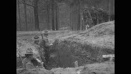 Military soldiers passing inside trench Stock Footage