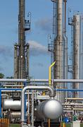 petrochemical plant detail oil industry - stock photo