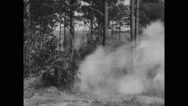 View of smoke rising after practice firing from mortar Stock Footage