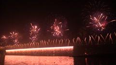 Fireworks Forth Bridge 50th anniversary (audio) - stock footage