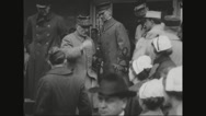 Ferdinand Foch walking out of government building Stock Footage