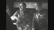 Ferdinand Foch disusing with military officer while travelling Stock Footage