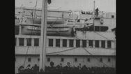People waving at the ship Stock Footage