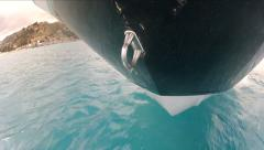 Detail of the hull of a boat navigating  - stock footage
