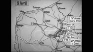 Animated map showing German offensive movement centred around Ypres Stock Footage