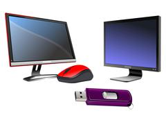 Flat computer monitor. display. mouse and disk on key.vector illustration Stock Illustration