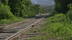 Train lines in the Sierras de la Calera Stock Footage