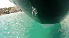 Detail of the hull of a boat navigating  Stock Footage