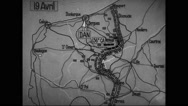 Animated map showing German advance short of its goal at Calais Stock Footage